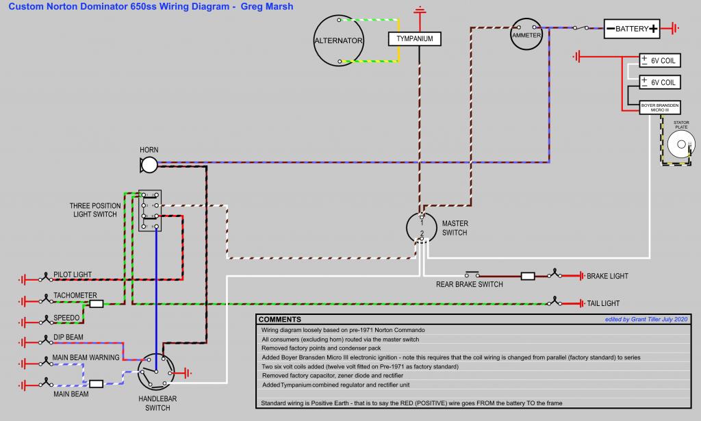 Custom Norton Dominator 650ss Wiring Diagram